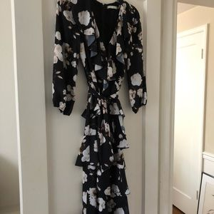 Alice and Olivia black floral ruffle dress